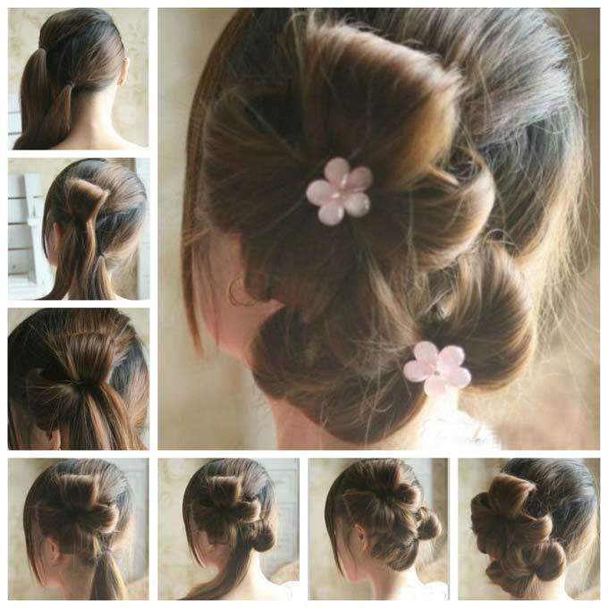 آموزش تصویری بافت مو به شکل گلبرگ