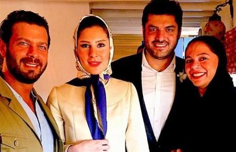 تبریک پژمان بازغی به سام درخشانی و همسرش + عکس