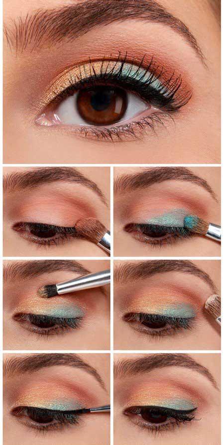 چگونه یک آرایش چشم آبی و مسی شیک انجام دهیم؟