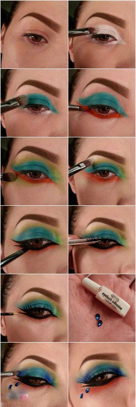 آموزش تصویری جدیدتری آرایش چشم (رنگین کمانی)
