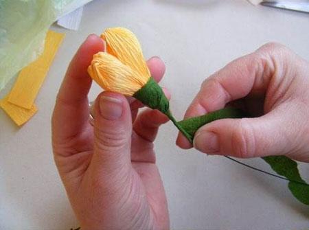آموزش تصویری ساخت گل ریز با کاغذ کشی