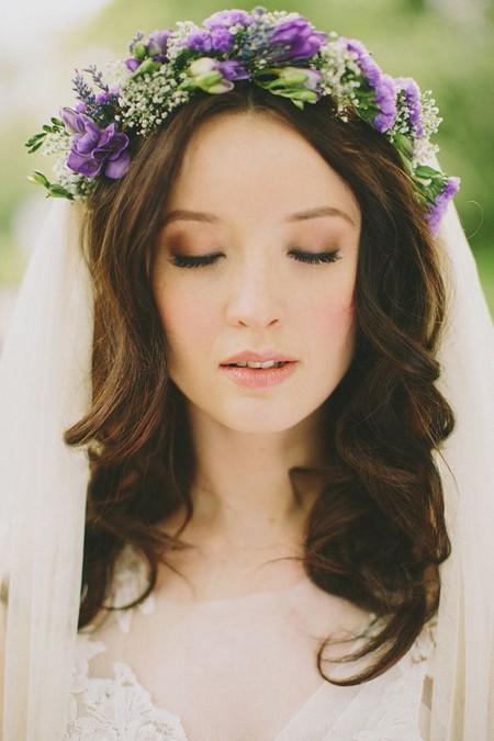 مدل مو عروس تزیین با گل طبیعی