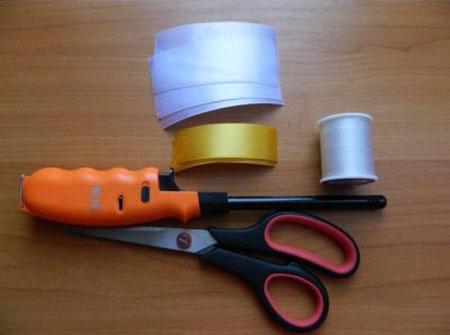 آموزش تصویری درست کردن گل شیپوری با روبان