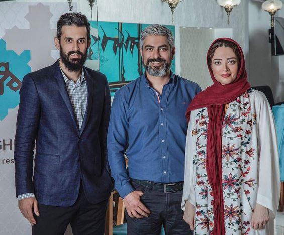 مهدی پاکدل و همسرش در کنار سعید معروف / عکس