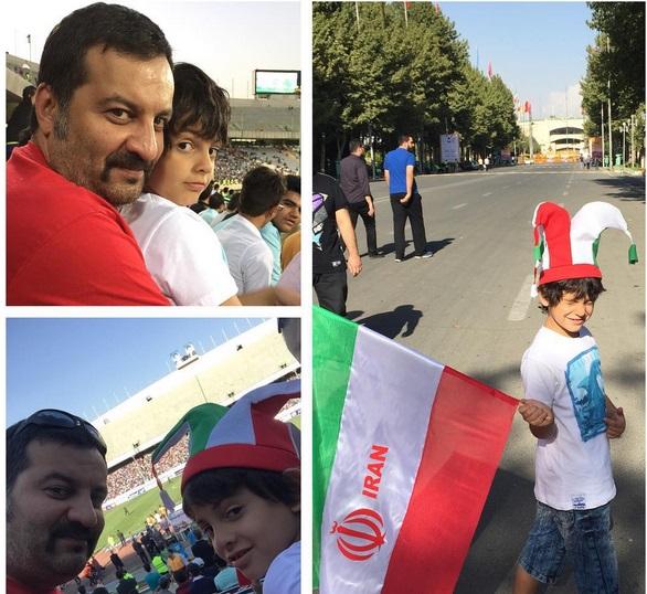 عکس / مهراب قاسم خانی و پسرش در ورزشگاه آزادی
