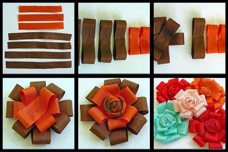آموزش تصویری درست کردن گل روبانی