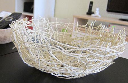 آموزش تصویری ساخت کاسه با نخ کنفی