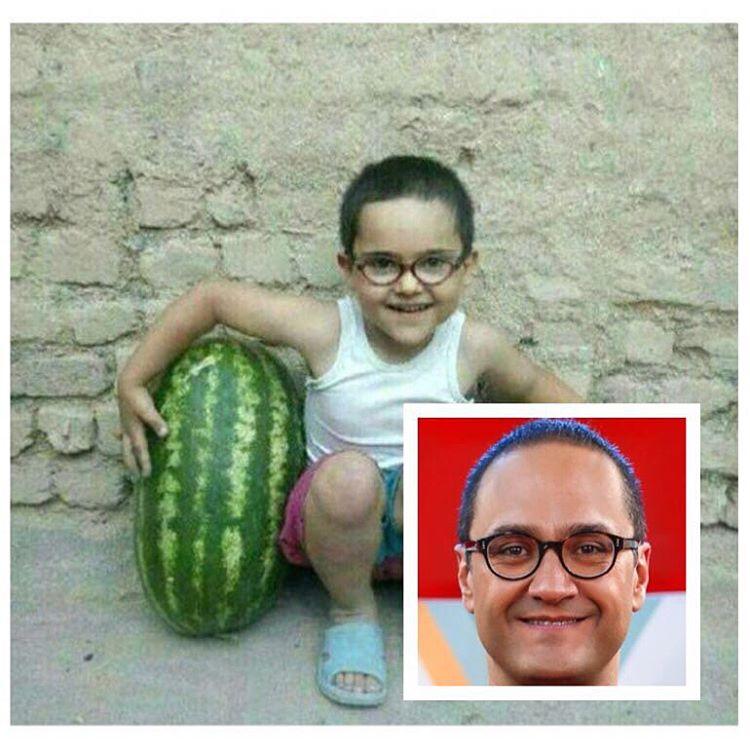 عکس جالب کودکی رامبد جوان با هندوانه