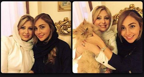 نیوشا ضیغمی و خواهرش در کنار حیوان خانگی اش / عکس