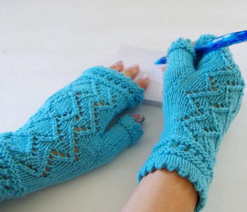 مدل های جدید دستکش بافتنی بدون انگشت دخترانه و زنانه