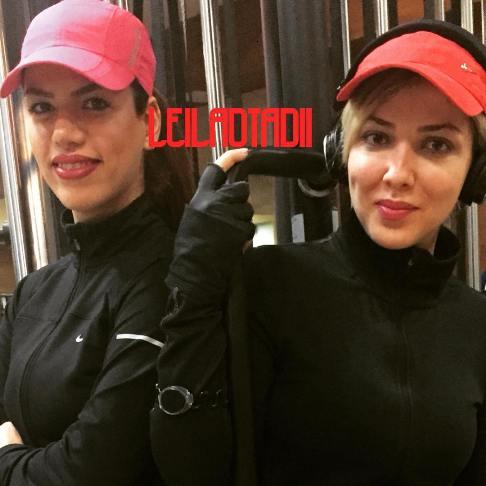 لیلا اوتادی در باشگاه ورزشی در کنار مربی اش! + عکس