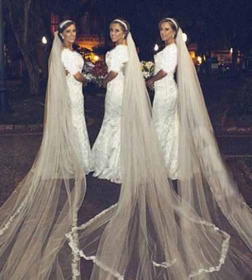 ازدواج جالب دختران ۳ قلو در یک روز + عکس