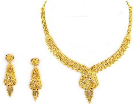 مدل سرویس گردنبند و گوشواره عروس/ طلای هندی