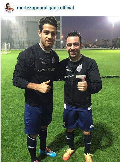 ژاوی هرناندز در کنار فوتبالیستهای ایرانی+عکس