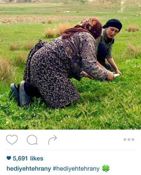 هدیه تهرانی در حال چیدن سبزی + عکس