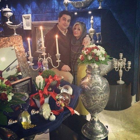 نیوشا ضیغمی و همسرش کنار سفره هفت سین / عکس