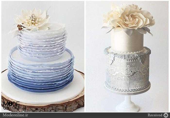 مدل تزیین کیک عروس با تور، روبان و جواهر