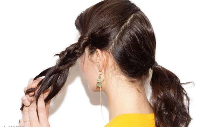 آموزش تصویری مدل موی جمع با بافت تیغ ماهی