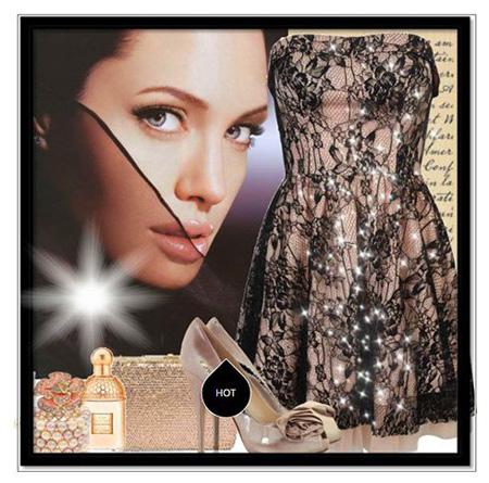 ست لباس شب کوتاه به سبک آنجلینا جولی