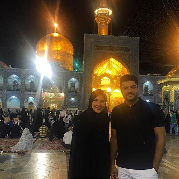 اولین عکس سام درخشانی و همسرش در حرم امام رضا (ع)