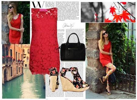 ست لباس مجلسی دخترانه به رنگ قرمز
