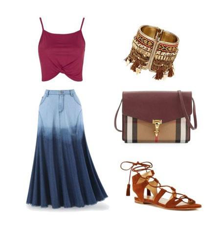 آموزش ست کردن لباس با دامن بلند