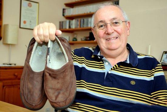 کفش های این مرد جانش را نجات داد + تصاویر