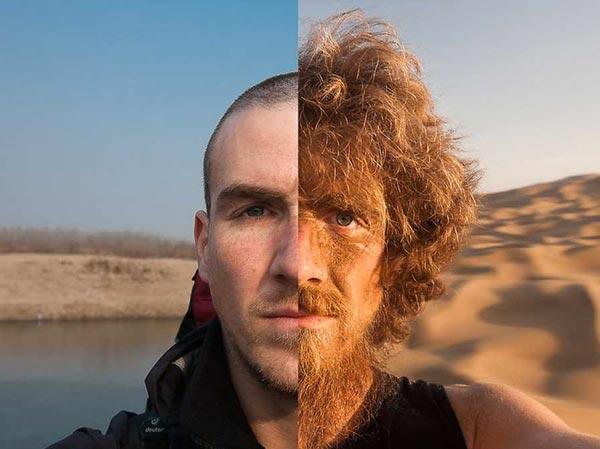 تغییر چهره عجیب یک جهانگرد قبل و بعد از ۴۰۰۰ کیلومتر پیاده روى! + عکس