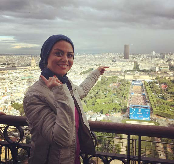 شبنم فرشاد جو بالاى برج ایفل + عکس