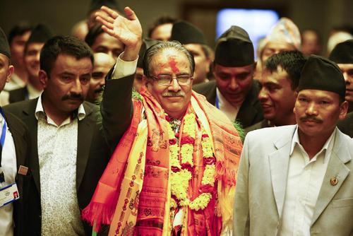 نخست وزیر جدید نپال در پارلمان این کشور در کاتماندو . او یک کمونیست – مائوییست است