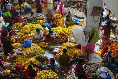 بازار گل در بنگلور هند