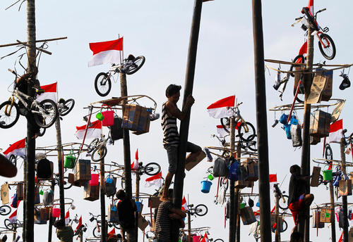 بالا رفتن از چوب های عمود شده به زمین برای برداشتن جوایز در جریان جشنواره ای به مناسبت هفتادویکمین سالگرد استقلال اندونزی – جاکارتا