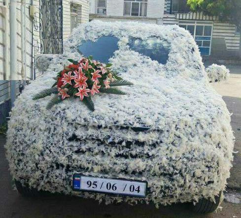 عکسی از تزئین خاص ماشین عروس با پر مرغ