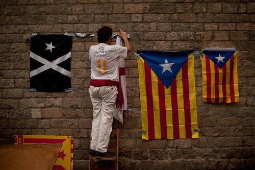 برگزاری جشن روز ملی کاتالان ها در شهر بارسلونا اسپانیا