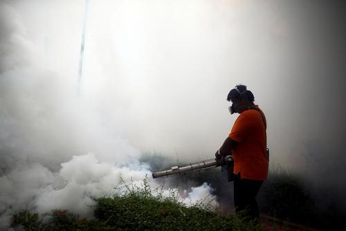 سم پاشی علیه پشه های ناقل ویروس زیکا در محوطه دانشگاه شهر بانکوک