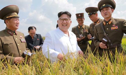بازدید رهبر کره شمالی از یک زمین کشاورزی در حومه شهر پیونگ یانگ