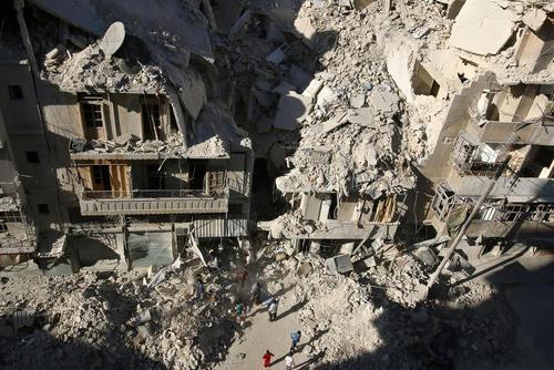 بمباران شهر حلب سوریه