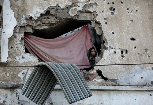 خانه ای آسیب دیده از جنگ 14 روزه با اسراییل در منطقه شجاعیه غزه