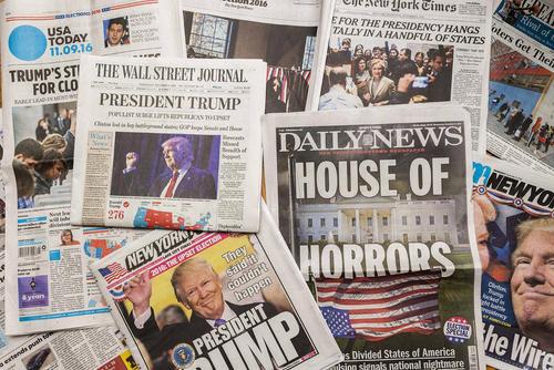 صفحه نخست روزنامه های نیوبورک در واکنش به خبر پیروزی ترامپ