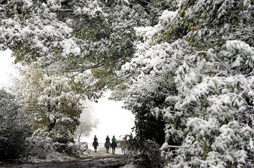 بارش برف در یورکشایر بریتانیا