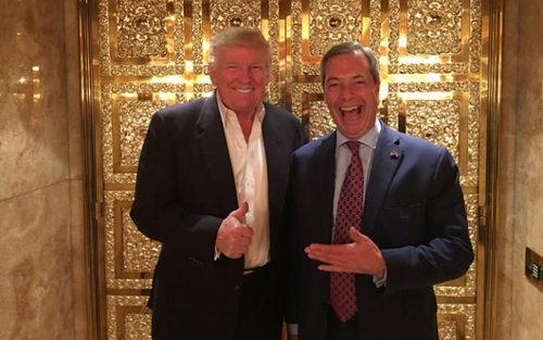 دیدار نایجل فاراژ رهبر حزب استقلال بریتانیا با دونالد ترامپ در برج مسکونی او در منهتن نیویورک
