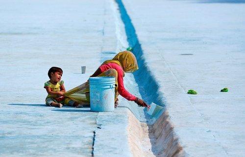 زن کارگر شهرداری در دهلی در حال رنگ کردن جدول و فرزندش در حال نق زدن