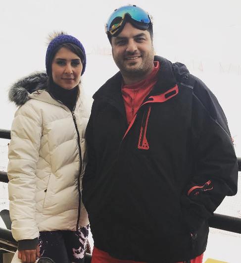 سام درخشانی و همسرش در پیست اسکی + عکس