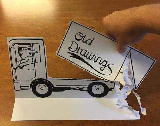 نقاشی های سه بعدی با استفاده از کاغذ و خودکار