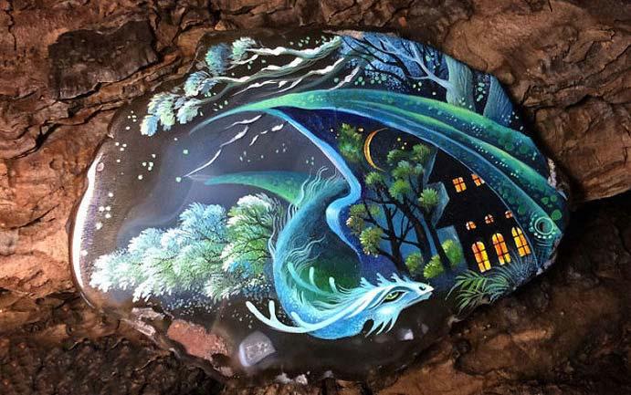 تصاویری از نقاشی های شگفت انگیز روی سنگ