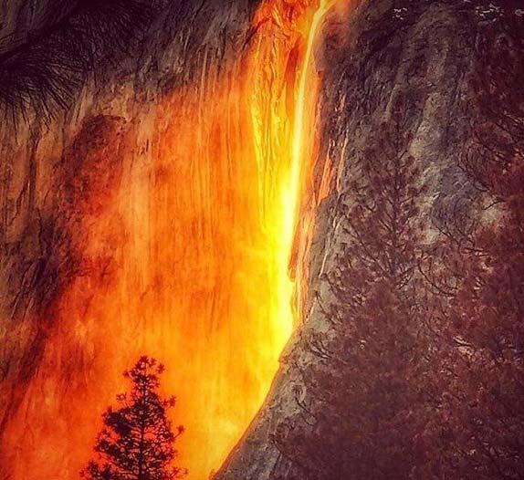 آبشار آتش در آمریکا + تصاویر