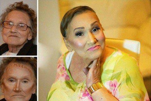 چهره عجیب پیرزن 80 ساله قبل و بعد از آرایش + عکس