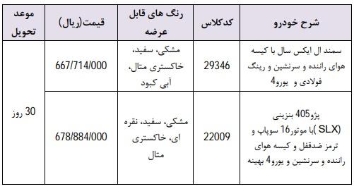 طرح فروش فوری محصولات ایران خودرو ویژه ۳۰ اردیبهشت ۹۸