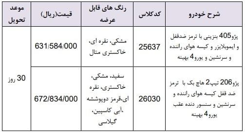 طرح فروش فوری محصولات ایران خودرو ۲۹ اردیبهشت ۹۸
