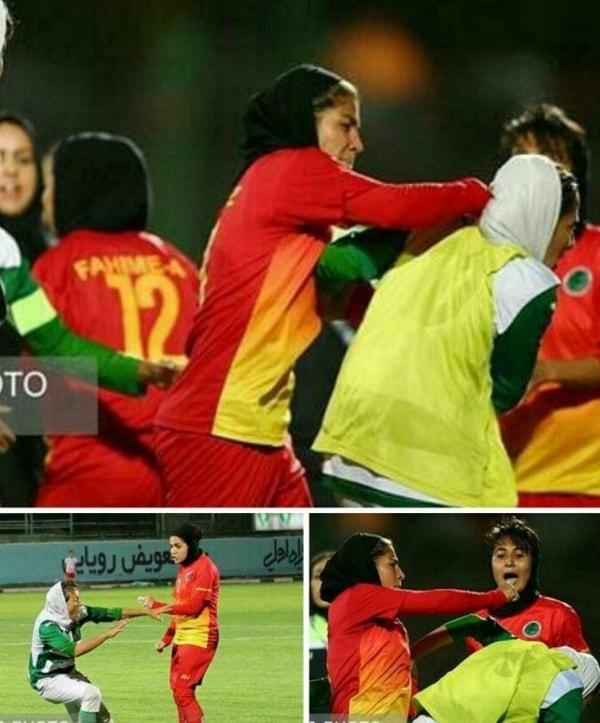 درگیری بین بازیکنان فوتبال زنان